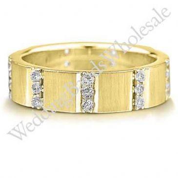 14K Gold 6mm Diamond Wedding Bands Rings 0917