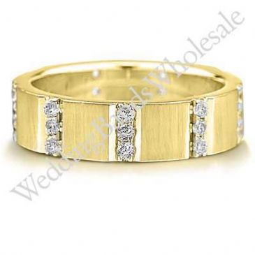 18K Gold 6mm Diamond Wedding Bands Rings 0917