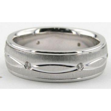 18K Gold 6.5mm Diamond Wedding Bands Rings 0890