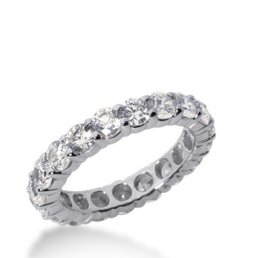 18k Gold Diamond Eternity Wedding Bands, Shared Prong Setting 2.50 ct. DEB10015218K