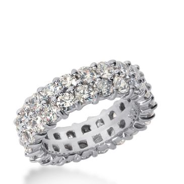 18k Gold Diamond Eternity Wedding Bands, Prong Setting 3.50 ct. DEB28418K
