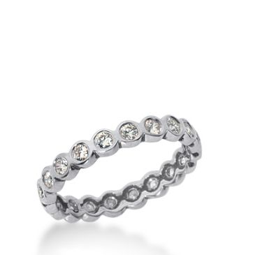 18k Gold Diamond Eternity Wedding Bands, Bezel Setting 0.50 ct. DEB210318K