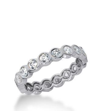 18k Gold Diamond Eternity Wedding Bands, Bezel Setting 1.00 ct. DEB210518K