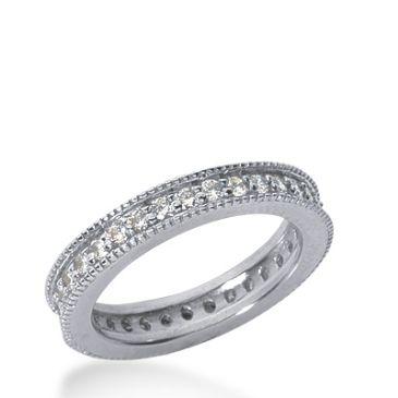 950 Platinum Milgrain Diamond Eternity Wedding Bands, Prong Setting 1.00 ct. DEB377PLT