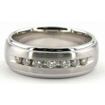 18K Gold 7mm Diamond Wedding Bands Rings 1221