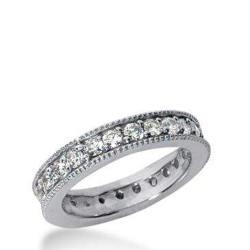 18k Gold Milgrain Diamond Eternity Wedding Bands, Prong Setting 1.50 ct. DEB37918K