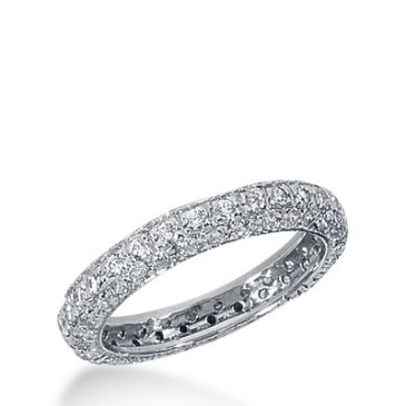 18k Gold Diamond Eternity Wedding Bands, Pave Setting 1.50 ct. DEB153118K