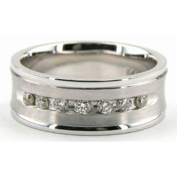 18K Gold 7mm Diamond Wedding Bands Rings 1231