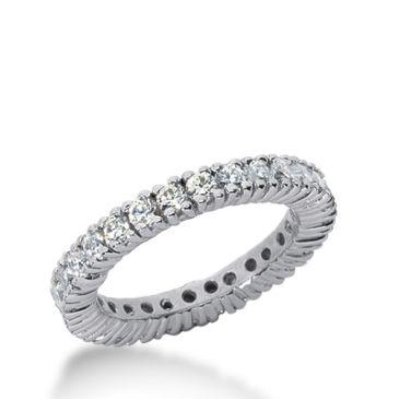 18k Gold Diamond Eternity Wedding Bands, Prong Setting 1.50 ct. DEB103518K