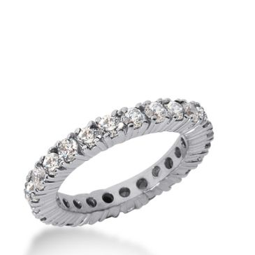 18k Gold Diamond Eternity Wedding Bands, Prong Setting 2.00 ct. DEB103718K