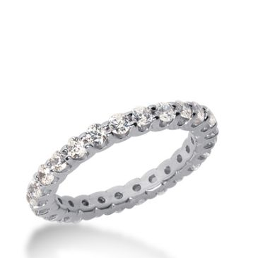 18k Gold Diamond Eternity Wedding Bands, Wide Shared Prong Setting 1.00 ct. DEB167318K