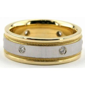 18K Gold 7mm Diamond Wedding Bands Rings 0877