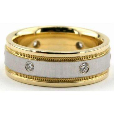 18K Gold 7mm Diamond Wedding Bands Rings 0877