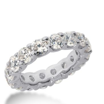 950 Platinum Diamond Eternity Wedding Bands, Wide Shared Prong Setting 6.00 ct. DEB16745PLT