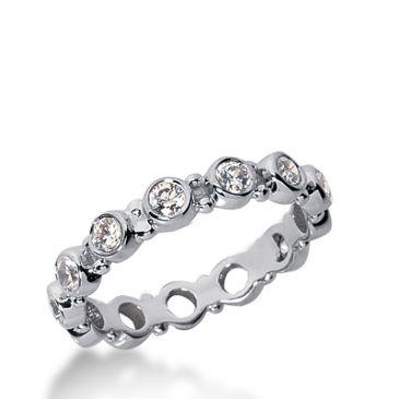 18k Gold Diamond Eternity Wedding Bands, Bezel Setting 1.00 ct. DEB196718K