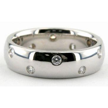 18K Gold 6mm Diamond Wedding Bands Rings 0857