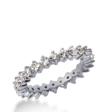 18k Gold Diamond Eternity Wedding Bands, Common Prong Setting 1.00 ct. DEB24718K