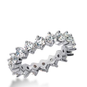 14k Gold Diamond Eternity Wedding Bands, Common Prong Setting 2.50 ct. DEB25014K
