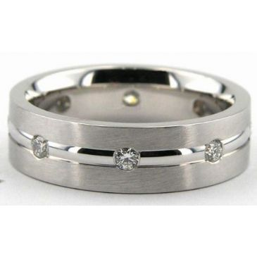 18K Gold 7mm Diamond Wedding Bands Rings 0875