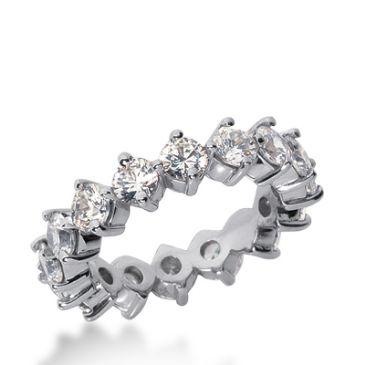 18k Gold Diamond Eternity Wedding Bands, Common Prong Setting 3.00 ct. DEB25118K