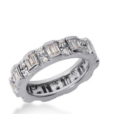 14k Gold Diamond Eternity Wedding Bands, Bar Setting 1.75 ctw. DEB18714K
