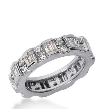 18k Gold Diamond Eternity Wedding Bands, Prong and Bar Setting 1.75 ctw. DEB18718K