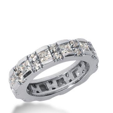 18k Gold Diamond Eternity Wedding Bands, Prong and Bar Setting 3.00 ctw. DEB18818K