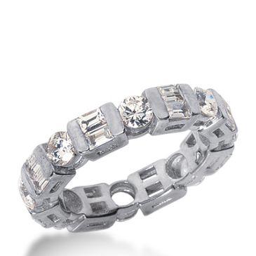 18k Gold Diamond Eternity Wedding Bands, Bar Setting 3.00 ctw. DEB19218K