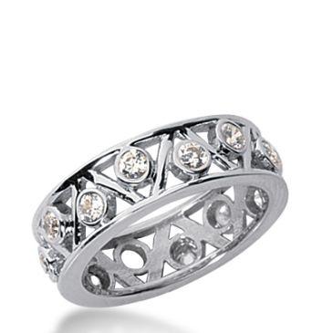 18k Gold Diamond Eternity Wedding Bands, Bezel Setting 0.75 ctw. DEB19518K