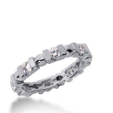 18k Gold Diamond Eternity Wedding Bands, Bar Setting 0.75 ctw. DEB20018K