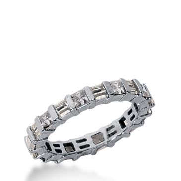 18k Gold Diamond Eternity Wedding Bands, Bar Setting 1.50 ctw. DEB22018K