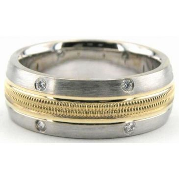 18K Gold 8mm Diamond Wedding Bands Rings 0864