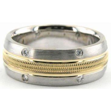 18K Gold 8mm Diamond Wedding Bands Rings 0864