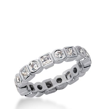 18k Gold Diamond Eternity Wedding Bands, Bezel Setting 1.50 ctw. DEB22418K