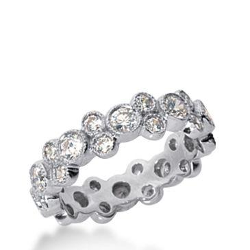 18k Gold Diamond Eternity Garland Wedding Bands, Bezel Setting 1.50 ct. DEB23718K