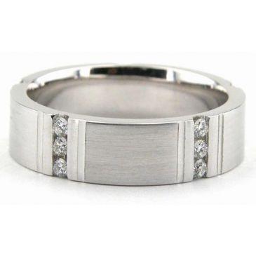 18K Gold 6mm Diamond Wedding Bands Rings 1947