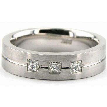 18K Gold 6mm Diamond Wedding Bands Rings 1960