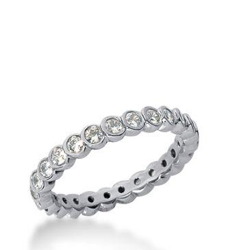 18k Gold Diamond Eternity Wedding Bands, Bezel Set 0.75 ct. DEB25818K