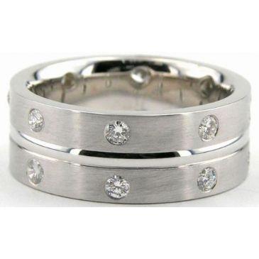 18K Gold 8mm Diamond Wedding Bands Rings 0878