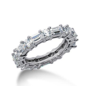 950 Platinum Diamond Eternity Wedding Bands, Shared Prong Set 3.50 ct. DEB276PLT