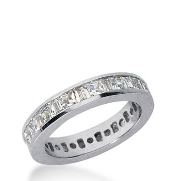 14k Gold Diamond Eternity Wedding Bands, Princess and Straight Baguette Diamonds Channel Set 2.00 ctw