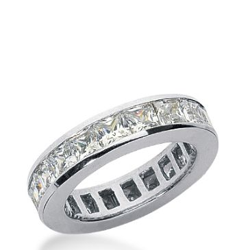 18k Gold Diamond Eternity Wedding Bands, Princess and Straight Baguette Diamonds, Channel Set 2.00 ctw