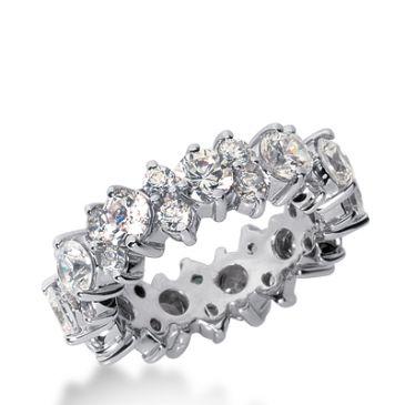 18k Gold Diamond Garland Eternity Wedding Bands, Prong Set 4.00 ct. DEB29118K