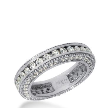 18k Gold Diamond Eternity Wedding Bands, Channel Set 1.50 ct. DEB29418K
