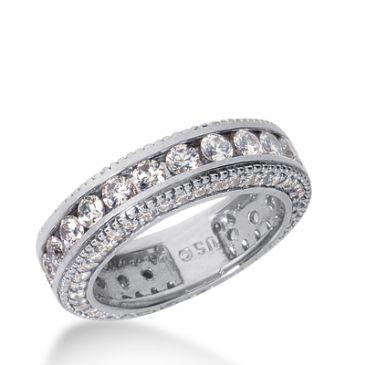 18k Gold Diamond Eternity Wedding Bands, Channel Set 2.50 ct. DEB29618K