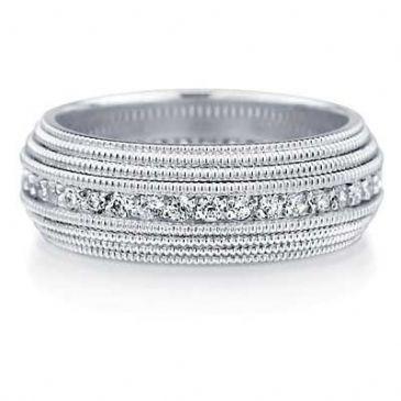 14K Diamond Wedding Band 6.5mm DEB40014K