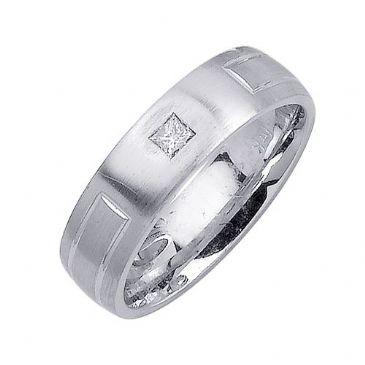 14K Gold Princess Cut Bezel Set 6mm Comfort Fit Diamond Band 0.10ctw 1109