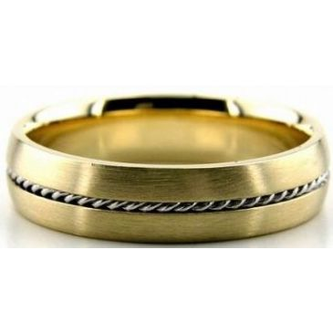 14k Gold Two Tone 5mm Handmade Wedding Band Rope Design 034