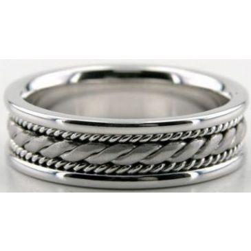 14k White Gold 6.5mm Handmade Wedding Band Rope Design 005