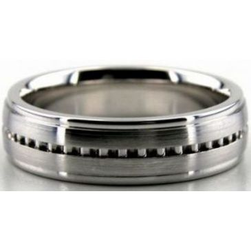 14k White Gold 6mm Handmade Wedding Band Latter Design 028